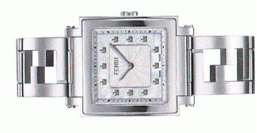- FENDI Quadro Collection MOP Diamond Dial Womans Steel WATCH F605034000b0