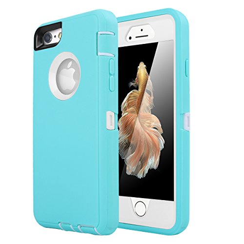 iPhone 6 Case, iPhone 6S Case [HEAVY DUTY] AICase Built-in Screen Protector Tough 3 in 1 Rugged Shorkproof Cover for Apple iPhone 6/6S (White/Light Blue) (White Case Protector)