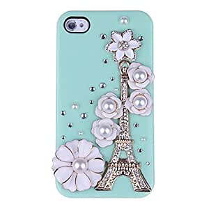 LCJ 3D Eiffle Tower And Flowers Diamond Plastic Case for iPhone 4/4S