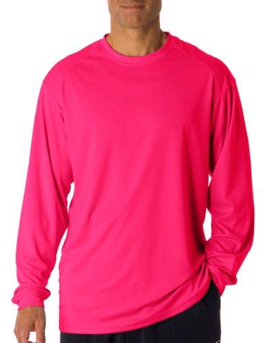 - Badger T shirt 4104 Blank Men's B-Core Long-Sleeve Performance Tee Hot Pink L