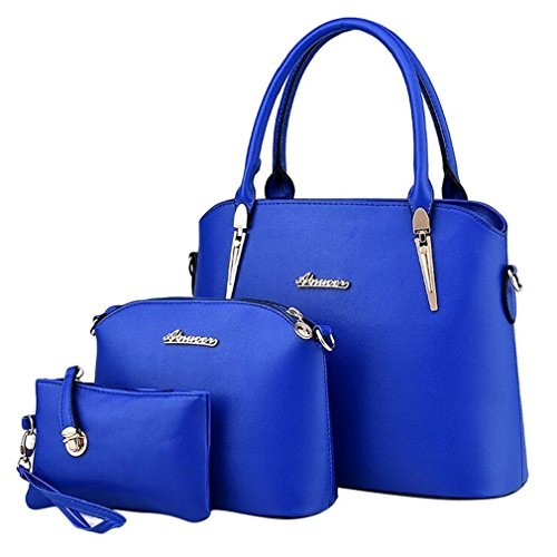 ADOO Women's Elegant Leather Handbags Shoulder Bags Tote Bags Hobo Set Sky Blue