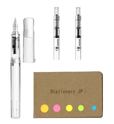 Pilot Kakuno Fountain Pen, Medium Nib, Non Color Body, Pilot Fountain Pen Converter, CON-40, 2-Pieces, Sticky Notes Value Set - Medium Sticky Notes