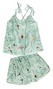 Fancyskin Womens Strappy Satin Floral Bowknot Pajamas Set Camisole Sleepwear
