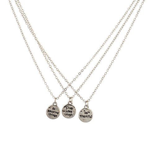 Lux Accessories Live Love Laugh Thankful Amazing BFF Best Friends Necklace Set.