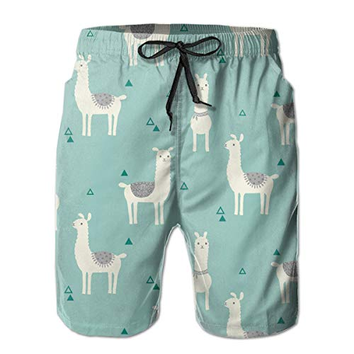Casual Beach Short, Polyester Llama Animal Cartoon Surfing Board Swim Trunks, No Mesh Lining Beachwear with Side and Back Pockets, Quickly Dry Wait Drawsring Shorts for Men -