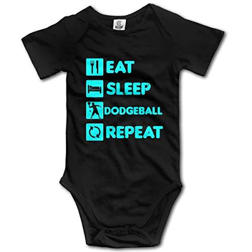 Eat Sleep Repeat Dodgeball Baby Unisex 100% Organic Cotton Rompers Costume Jumpsuit 0-2T Black
