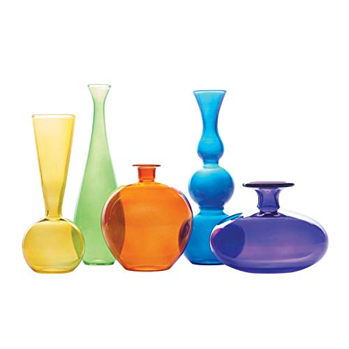 ART & ARTIFACT Colorful Modern Glass Vases Collection - Set of 5 Uniquely Shaped Jewel Tone Decorative Vases