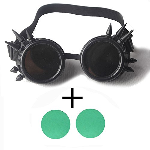 Goth Cyber - ABS Spiked Steampunk Goggles Glasses Welding Goth Cosplay Goggles