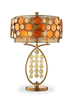 OK Lighting OK-5119T Capiz Shell Double Drum Table Lamp, 28-Inch, Antique Copper