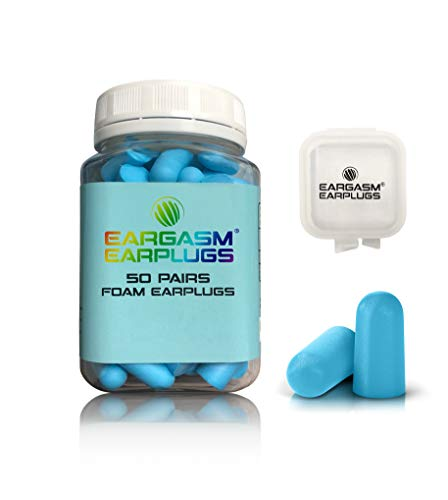Eargasm Foam Earplugs, 50 Pairs, 32 dB NRR, Super Soft, Great for Sleeping, Studying, Snoring, Comes with Bonus Carrying Case (Best Earplugs For Studying)