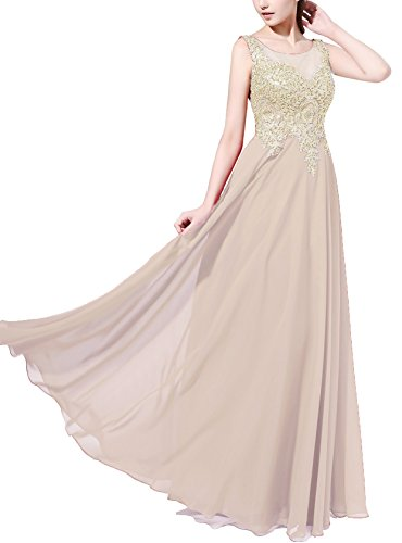 Rongstore Women's Chiffon Long Appliques Formal Evening Prom Dresses Champagne US 16