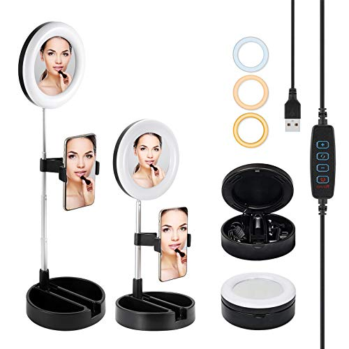 Powerextra Selfie Ring Light - 6.5'' Mini Desk Foldable Ring Light with Stand Mirror and Phone Holder 3 Light Modes for Makeup Photography YouTube Videos Vlog TIKTok Live - Dimmable Beauty Ring Light