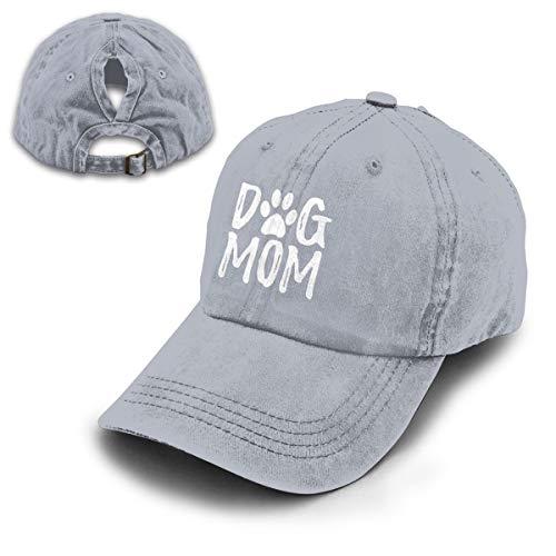Splash Brothers Customized Unisex Dog Mom Vintage Jeans Adjustable Baseball Cap Cotton Denim Dad Hat (Ponytail Gray, One Size)