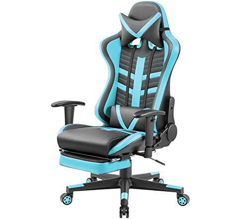 Office Home Furniture Premium Gaming Chair Ergonomic High-Back Racing Chair Pu Leather Bucket Seat,Computer Swivel Office Chair Headrest and Lumbar Support Executive Desk Chair with Footrest (Blue)