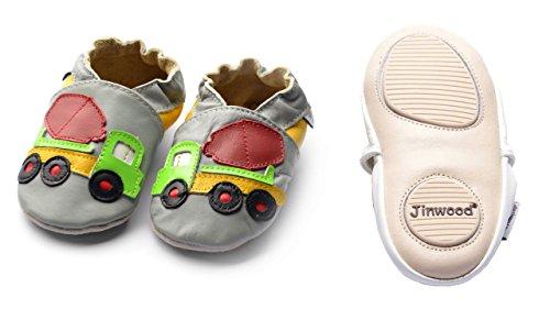 Jinwood designed by amsomo - Patucos de Piel para niña cement truck grey mini shoes
