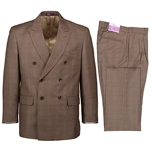 VINCI Men's Glen Plaid Double Breasted 6 Button Classic Fit Suit Tan | Size: 60 Regular / 56 Waist