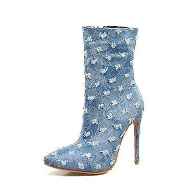 Chunky moda Scarpe RTRY scarponi UK7 Stivali Mid per Stivali scuro navy US9 Inverno CN41 abiti tallone punta blu sposa denim Novità da tonda blu Calf EU40 donna dq8wqrX