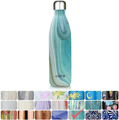 MIRA 25 Oz Vacuum Insulated Travel Water Bottle | Leak-proof Double Walled Stainless Steel Cola Shape Sports Water Bottle | No Sweating, Keeps Your Drink Hot & Cold | 750 ml Teal Granite by MIRA Brands (Image #7)