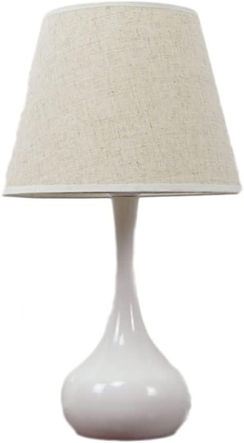 Lámpara de mesa de noche regulable, con tono de tela beige, protección de la noche de noche de protección suave de protección ocular, lámparas de mesita de noche exquisitas, para dormitorio, sala de e