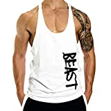 Winsummer Men's Muscle Stringer Bodybuilding Fitness Tank Tops Athletic Workout Gym Vest T-Shirts White