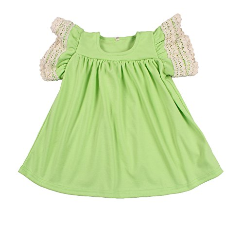 Yawoo Haan Baby Girls Cotton Boutique Dresses Toddler Lace Pearl Dress Green 5-6T
