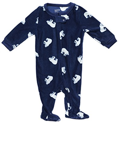 (Leveret Kids Fleece Baby Boys Girls Footed Pajamas Sleeper Christmas Pjs (Polar Bear,Size 6-12 Months) )