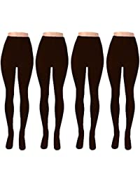 Women's Hight Waisted Full Length Winter Tights (Pack of 4)