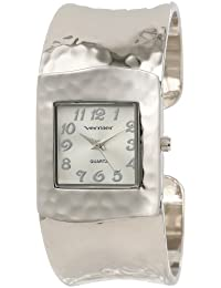 Womens VNR1832 Silver Tone Hammered Bangle Watch