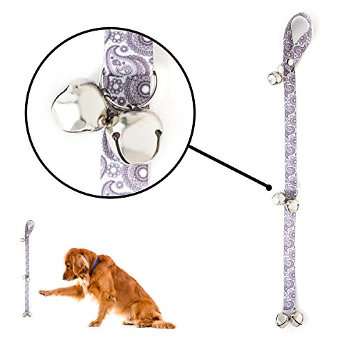 Mighty Paw Tinkle Bells 2.0, Designer Dog Doorbells, Stylish Fabric with Premium Quality bells, Housetraining Doggy Door Bells for Potty Training, Free Hook (Stormy Grey - Paisley) ()