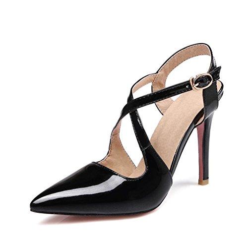 Mujeres Tobillo Correa Sandalias Zapatos Boda Nupcial Zapato Puntiagudo Dedo del pie Strappy Estilete Alto Tacón Zapatillas Corte Zapatos Black