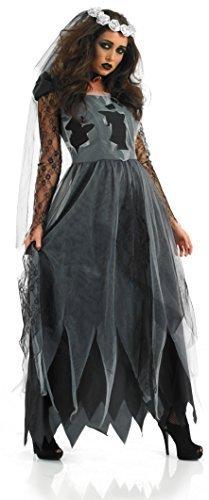 Ladies Black Zombie Dead Corpse Long Length Bride Halloween Fancy Dress Costume Outfit 8-30 Plus Size (UK 28-30) -