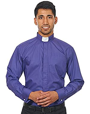 Men's Long Sleeves Tab Collar Clergy Shirt Purple