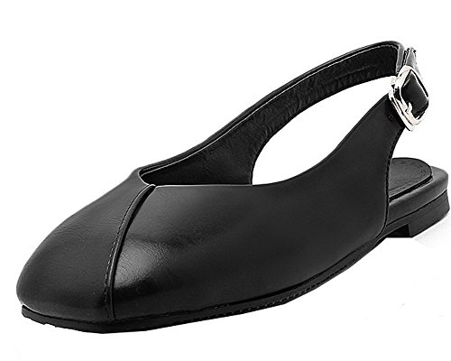 Solid Blend Pull Closed On Materials Toe Heels Women's WeenFashion Black Low Sandals qwfTtt