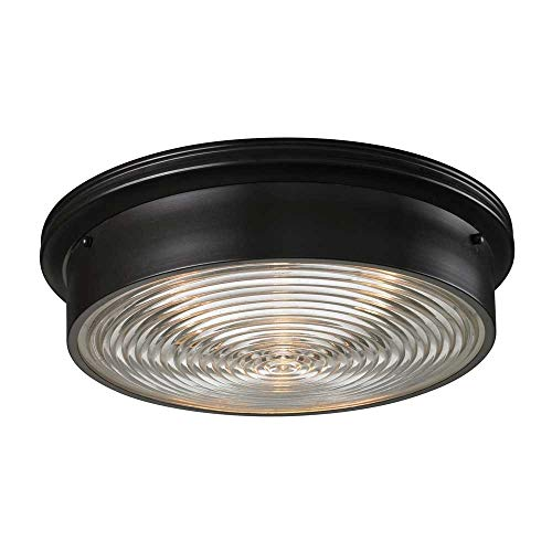 Elk 11453/3 3-Light Flush Mount with Clear Ribbed Glass Shade, 15 by 5-Inch, Oiled Bronze Finish
