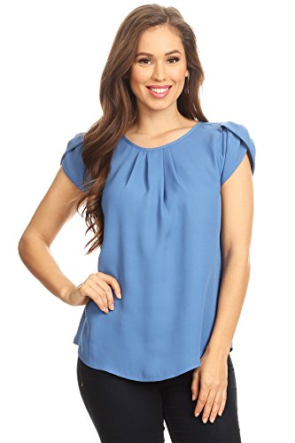 VIA Jay's Basic Casual Simple Short Puff Sleeve Relaxed Blouse TOP (Denim Blue, ()