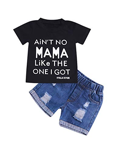 (Baby Boy Clothes Funny Letter Printed Tops Leggings Pants Outfits Set for Toddler Boys (Black+Blue, 18-24 Months))