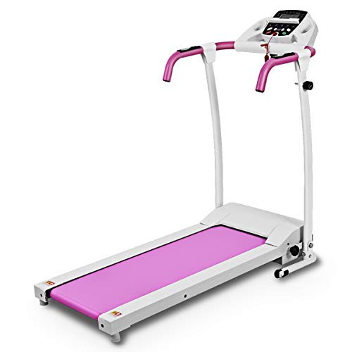 Goplus 800W Folding Treadmill Electric Motorized Power Fitness Running Machine with LED Display and Mobile Phone Holder Perfect for Home Use (Pink)