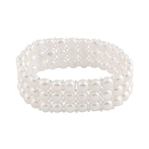 3-Row Handpicked White 6.5-7mm Freshwater Cultured Pearls Elastic Stretch Gatsby Flapper Style Bracelet
