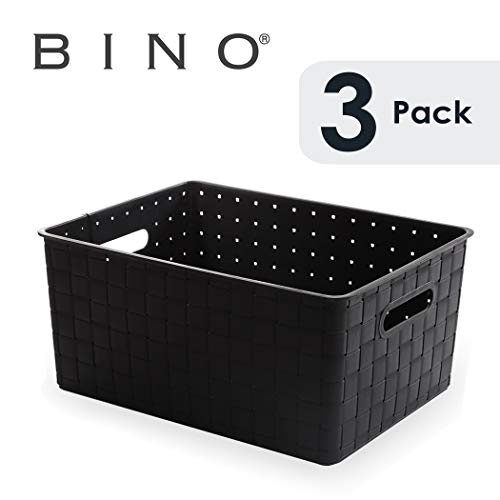 BINO Woven Plastic Storage Basket, Large (White)