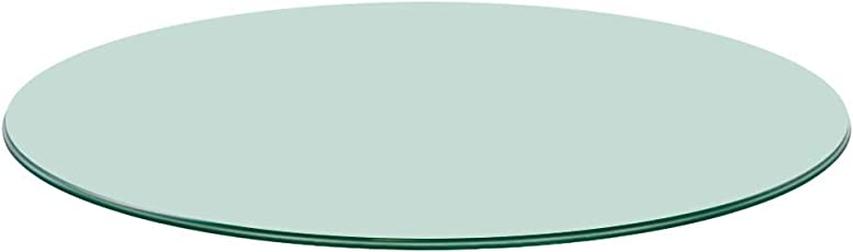 "TroySys Glass Table Top, Pencil Edge, Tempered Glass, 24"" L Round"