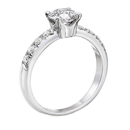 14K White Gold Brilliant Round Cut Diamond Engagement Ring (1.00 cttw, J-K Color, I1-I2 Clarity) - Size 4