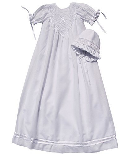Infant Baby Girl Christening Baptism Gown with Hand Smocking Ribbons and Bonnet by Carouselwear