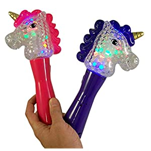 Assorted Light Up Unicorn Magic Spinning Ball Wand, 9 Inch, Pack of 2