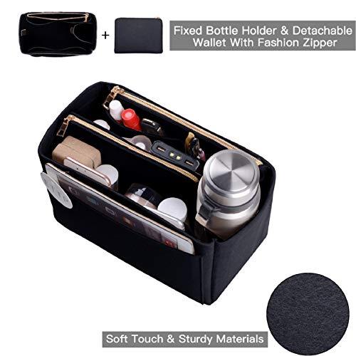 Purse Organizer, Felt Bag Organizer Insert For Speedy, Neverfull, Tote, Handbag, 6 Colors 3 Sizes (Large, Black) ()