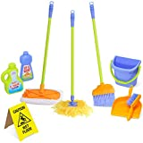 Durable Kids Cleaning Set with Pretend Play House Cleaning Tools - Duster, Broom, Brush, Mop, Dust Pan, Water Bucket and Wet Floor Sign