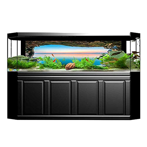 Grotto Collection (UHOO2018 Fish Tank Background Decorations Collection Fairy Image of The Horizon Inside Hidden Grotto Upper Paradise Poin Pictures PVC Decoration Paper Cling Decals Sticker 29.5