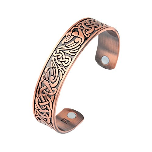 Health Care Bangle Irish Birds Knot Womens Magnetic Therapy Metal Cuff Bracelet Wristband Men (Antique Copper)
