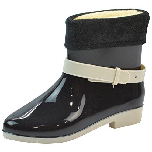 LvRao Mujeres Boots Impermeables Lindos Zapatos de Lluvia Nieve Botines Corto de Goma Botas Negro con Forro