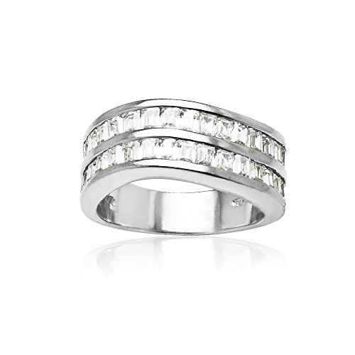 Sterling Silver Cubic Zirconia Baguette-cut Curved Channel Set Ring, Size ()