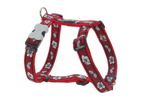 Red Dingo Designer Dog Harness, Small, Hibiscus Red
